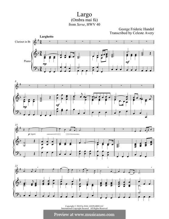 Ombra mai fu: para clarinete e piano by Georg Friedrich Händel