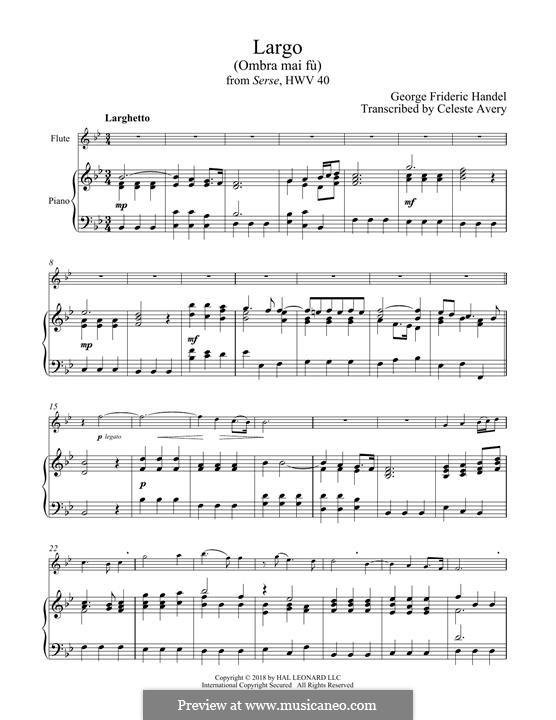 Ombra mai fu: para flauta e piano by Georg Friedrich Händel