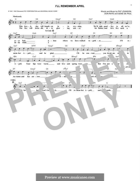 I'll Remember April (Woody Herman): para teclado by Don Raye, Gene de Paul, Patricia Johnson