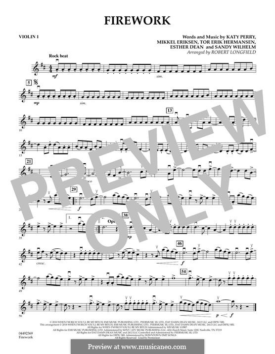 Firework: For strings – Violin 1 part by Esther Dean, Katy Perry, Mikkel Storleer Eriksen, Sandy Wilhelm, Tor Erik Hermansen