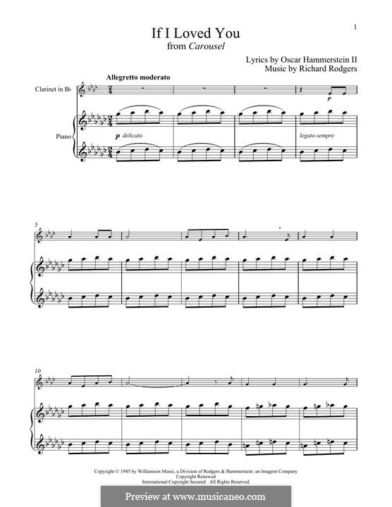 If I Loved You (from Carousel): para clarinete e piano by Richard Rodgers
