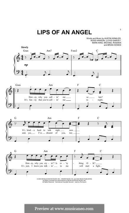 Lips of an Angel (Hinder): Para Piano by Austin Winkler, Brian Howes, Lloyd Garvey, Mark King, Michael Rodden, Ross Hanson