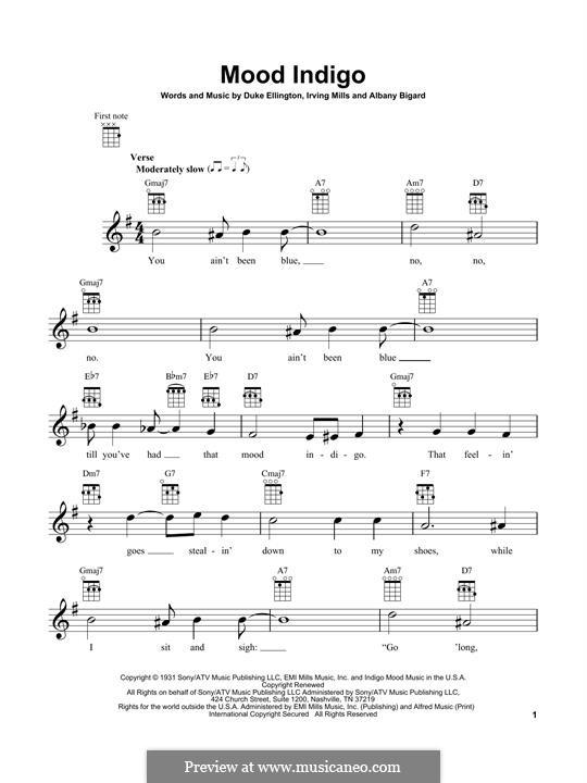 Mood Indigo: para ukulele by Irving Mills, Albany Bigard, Duke Ellington