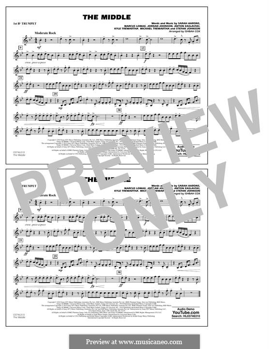 The Middle (Zedd, Maren Morris & Grey): 1st Bb Trumpet part by Anton Zaslavski, Marcus Lomax, Stefan Johnson, Jordan Johnson, Sarah Aarons, Kyle Trewartha, Michael Trewartha