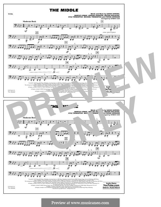 The Middle (Zedd, Maren Morris & Grey): Tuba, partes by Anton Zaslavski, Marcus Lomax, Stefan Johnson, Jordan Johnson, Sarah Aarons, Kyle Trewartha, Michael Trewartha