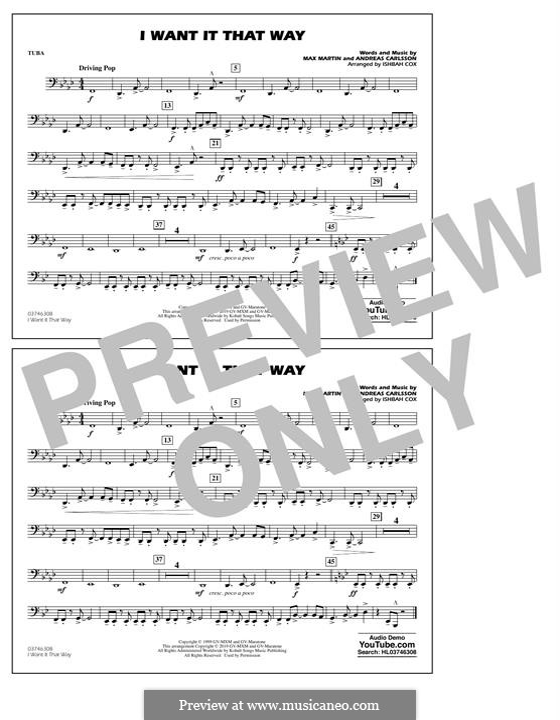 I Want It That Way (Backstreet Boys): Tuba, partes by Andreas Carlsson, Max Martin