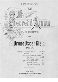Le secret d'amour, Op.32 No.1: para Violoncelo e piano by Bruno Oscar Klein