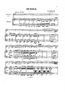 Solo No.10 for Clarinet and Piano, Op.27: Partitura para dos artistas, parte solo by Hyacinthe Eléonore Klosé