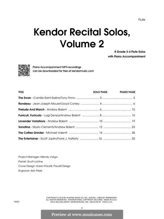 Kendor Recital Solos, Volume 2: parte flauta by Johann Sebastian Bach, Wolfgang Amadeus Mozart, Georg Friedrich Händel, Alexander Borodin, Scott Joplin