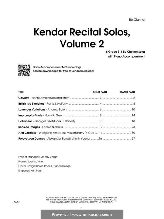 Kendor Recital Solos, Volume 2: Bb Clarinet part by Johann Sebastian Bach, Wolfgang Amadeus Mozart, Georg Friedrich Händel, Alexander Borodin, Scott Joplin