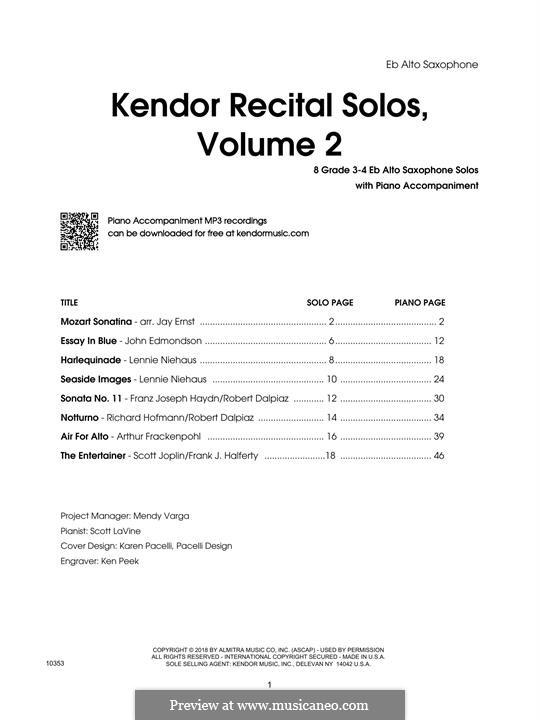 Kendor Recital Solos, Volume 2: Eb Alto Saxophone part by Johann Sebastian Bach, Wolfgang Amadeus Mozart, Georg Friedrich Händel, Alexander Borodin, Scott Joplin