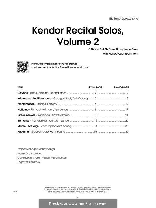 Kendor Recital Solos, Volume 2: Bb Tenor Saxophone part by Johann Sebastian Bach, Wolfgang Amadeus Mozart, Georg Friedrich Händel, Alexander Borodin, Scott Joplin