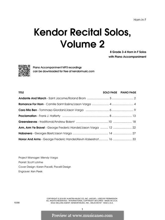 Kendor Recital Solos, Volume 2: Horn in F part by Johann Sebastian Bach, Wolfgang Amadeus Mozart, Georg Friedrich Händel, Alexander Borodin, Scott Joplin