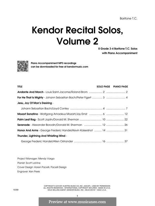 Kendor Recital Solos, Volume 2: Baritone T.C. part by Johann Sebastian Bach, Wolfgang Amadeus Mozart, Georg Friedrich Händel, Alexander Borodin, Scott Joplin