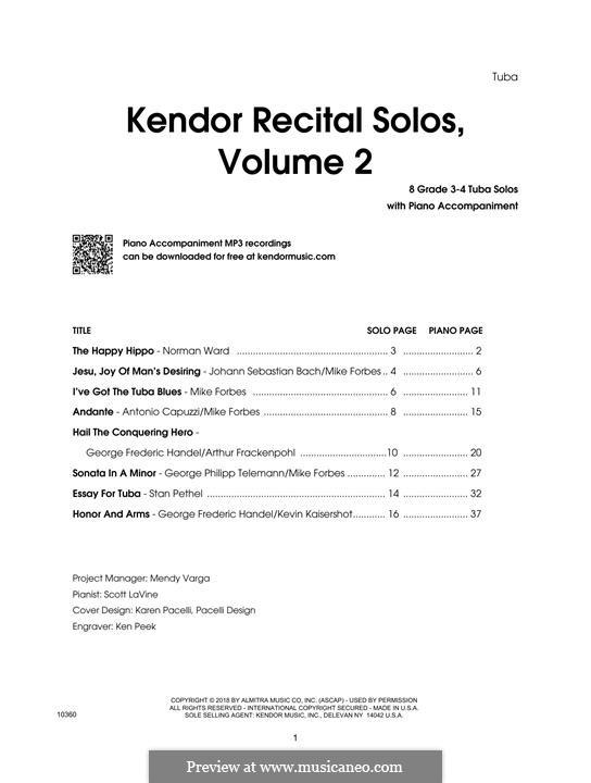 Kendor Recital Solos, Volume 2: Tuba, partes by Johann Sebastian Bach, Wolfgang Amadeus Mozart, Georg Friedrich Händel, Alexander Borodin, Scott Joplin