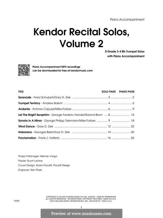 Kendor Recital Solos, Volume 2: Bb Trumpet - Piano Accompaniment by Johann Sebastian Bach, Wolfgang Amadeus Mozart, Georg Friedrich Händel, Alexander Borodin, Scott Joplin