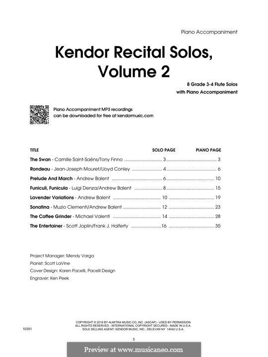 Kendor Recital Solos, Volume 2: Flute - Piano Accompaniment by Johann Sebastian Bach, Wolfgang Amadeus Mozart, Georg Friedrich Händel, Alexander Borodin, Scott Joplin
