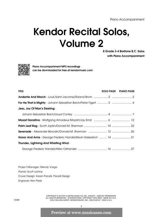 Kendor Recital Solos, Volume 2: Piano Accompaniment by Johann Sebastian Bach, Wolfgang Amadeus Mozart, Georg Friedrich Händel, Alexander Borodin, Scott Joplin