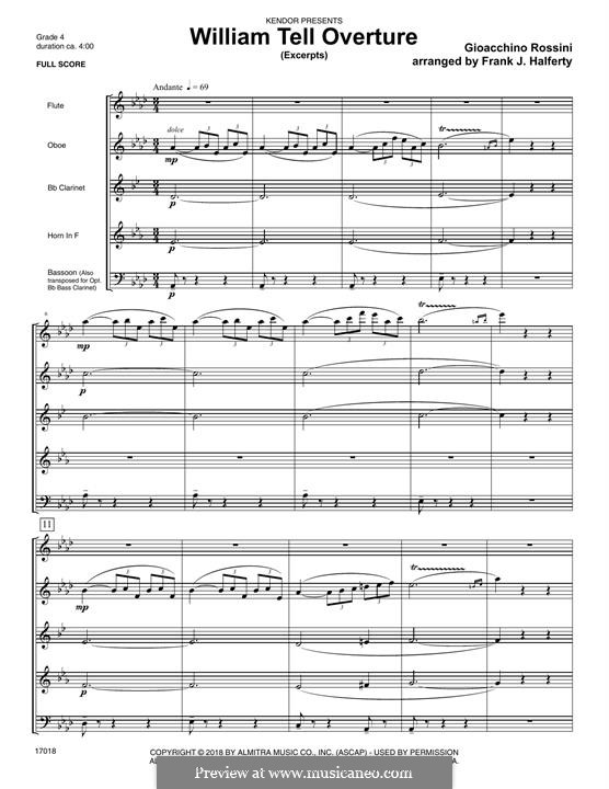 Overture (Printable Scores): Excerpts, for winds – Full Score by Gioacchino Rossini