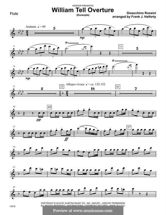 Overture (Printable Scores): Excerpts, for winds – Flute part by Gioacchino Rossini