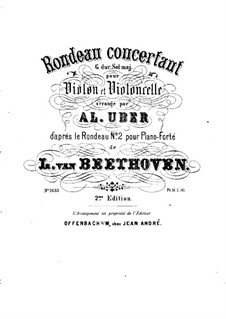 Two Rondos for Piano, Op.51: Rondo No.2, for violin and cello – violin part by Ludwig van Beethoven