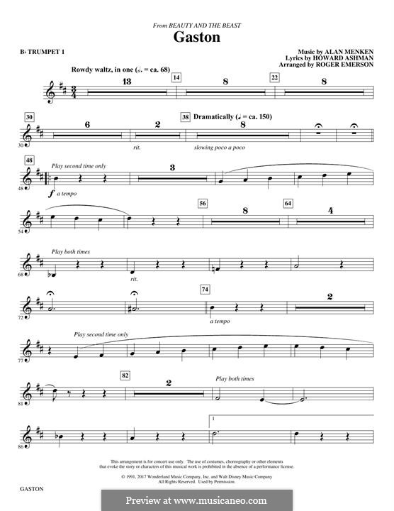 Gaston (from Beauty and the Beast): Bb Trumpet 1 part by Alan Menken