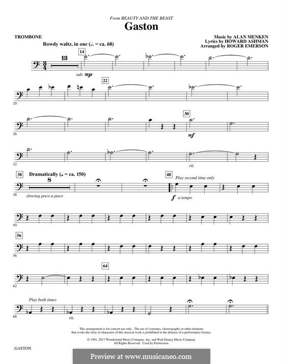 Gaston (from Beauty and the Beast): parte trombone by Alan Menken