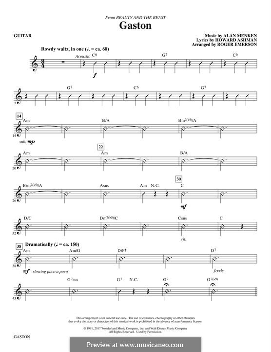 Gaston (from Beauty and the Beast): parte Guitarra by Alan Menken