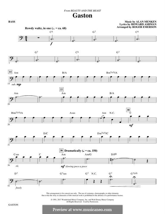 Gaston (from Beauty and the Beast): parte baixo by Alan Menken