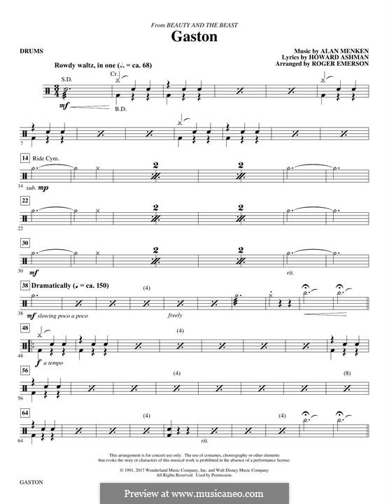 Gaston (from Beauty and the Beast): Drums part by Alan Menken