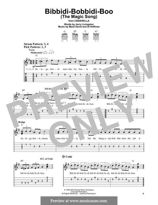 Bibbidi-Bobbidi-Boo (The Magic Song): Para Guitarra by Al Hoffman, Mack David