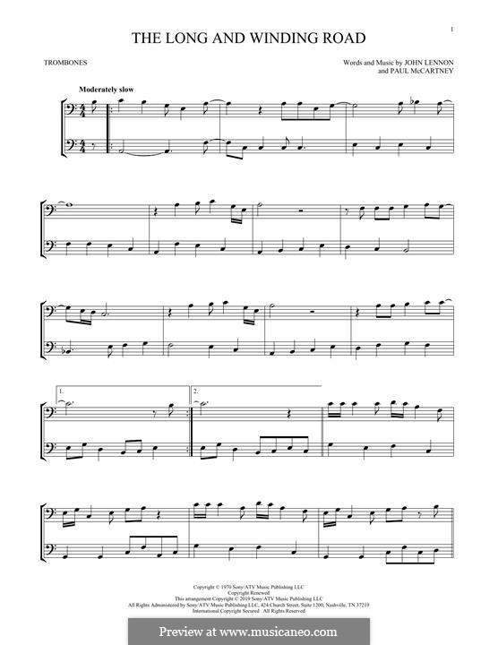 The Long and Winding Road (The Beatles): For two trombones by John Lennon, Paul McCartney