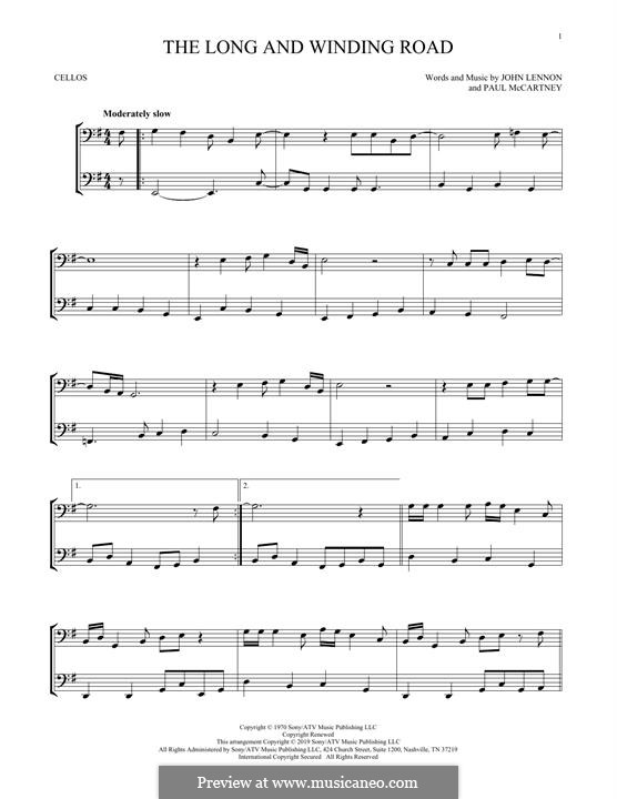 The Long and Winding Road (The Beatles): para dois violoncelo by John Lennon, Paul McCartney