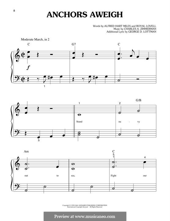Anchors Aweigh (Alfred Hart Miles): Para Piano by Charles A. Zimmermann, George D. Lottman, Royal Lovell