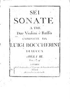 Six String Trios, Op.3: Violin II part (or cello), G.119-124 by Luigi Boccherini