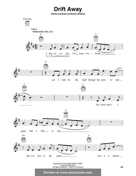 Drift Away (Dobie Gray): For banjo by Mentor Williams