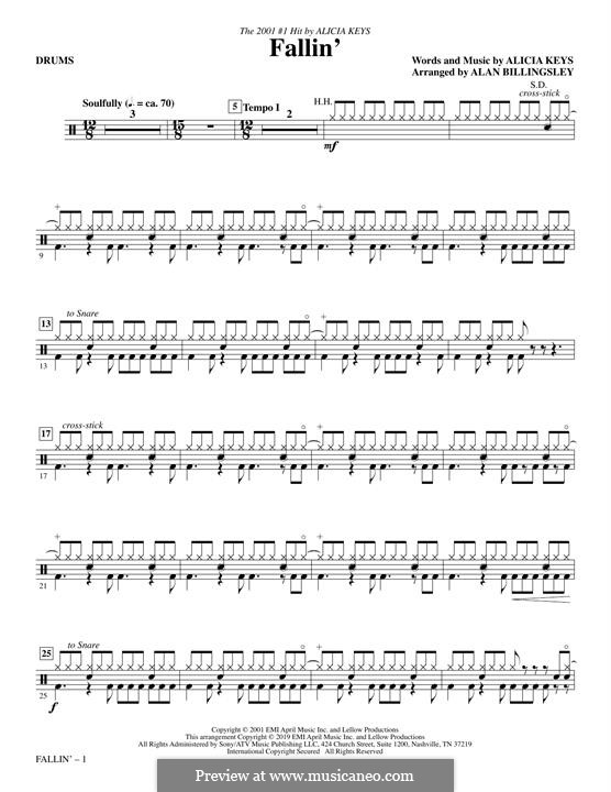 Fallin': Drums part by Alicia Keys