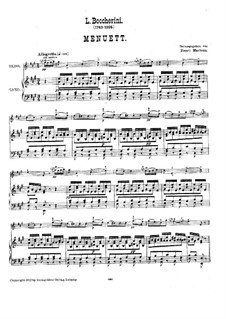 String Quintet No.5 in E Major, G.275 Op.107: Minuet, for violin and piano – score and part by Luigi Boccherini