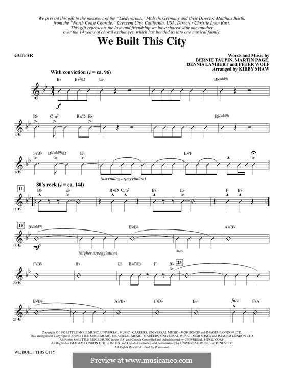 We Built This City (Starship): parte Guitarra by Dennis Lambert, Martin George Page, Peter Wolf