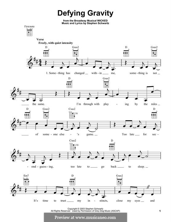 Defying Gravity (from the Broadway Musical Wicked): para ukulele by Stephen Schwartz