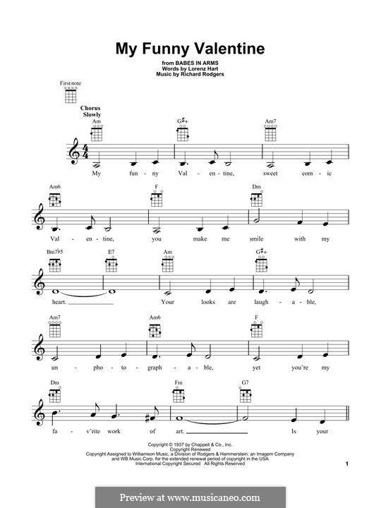 My Funny Valentine: para ukulele by Richard Rodgers