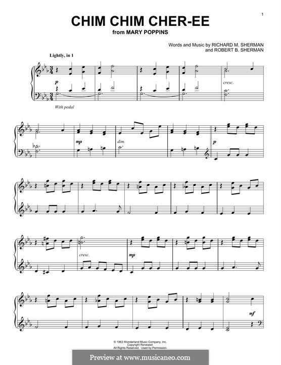 Chim Chim Cher-ee (from Mary Poppins), for Piano: para um único musico (Editado por H. Bulow) by Richard M. Sherman, Robert B. Sherman