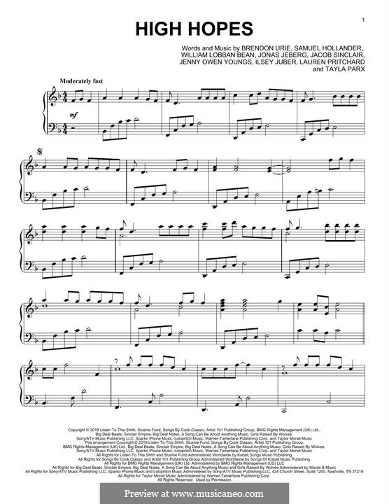 High Hopes (Panic! At The Disco): Facil para o piano by Brendon Urie, Jonas Jeberg, Sam Hollander, Jacob Sinclair, William Lobban-Bean