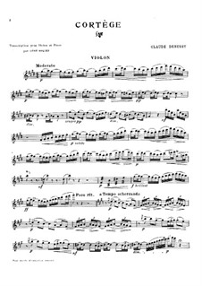 Petite suite, L.65: No.2 Cortège, for violin and piano – solo part by Claude Debussy