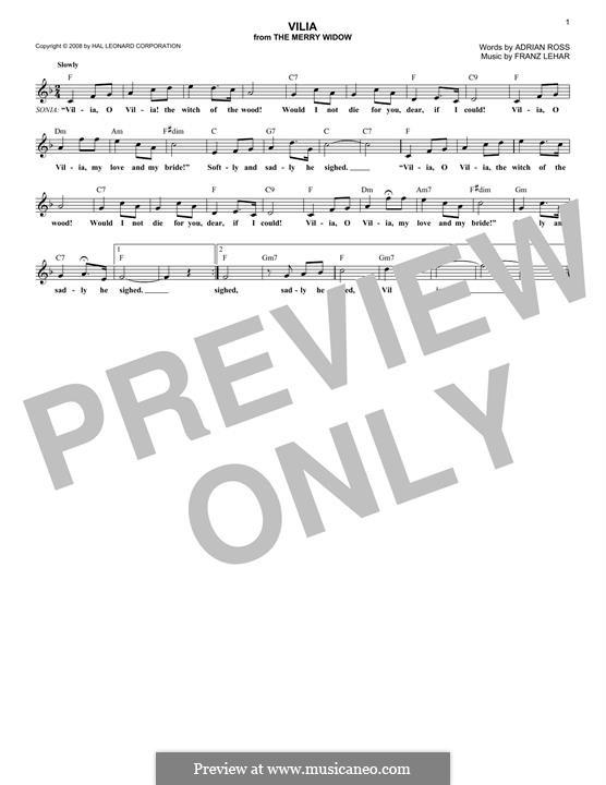 Vilja Lied: para teclado by Franz Lehár