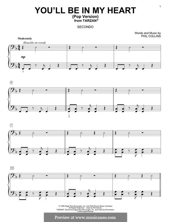 You'll Be in My Heart (from Walt Disney's Tarzan) Pop version: Para Piano by Phil Collins