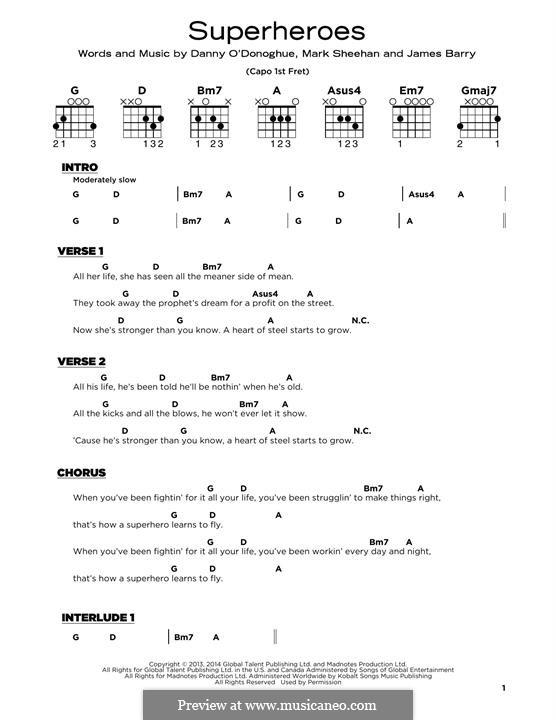 Superheroes (The Script): Para Guitarra by Danny O'Donoghue, Mark Sheehan, James Barry