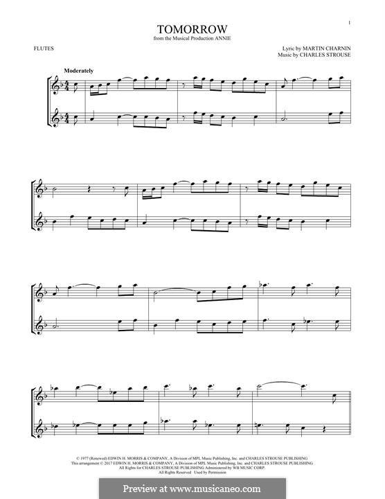 Tomorrow (from Annie): para duas flautas by Charles Strouse