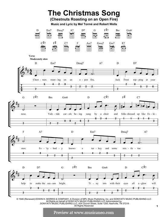 The Christmas Song (Chestnuts Roasting on an Open Fire): para ukulele by Mel Tormé, Robert Wells