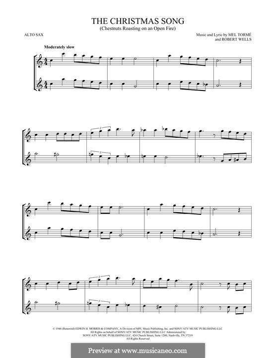 The Christmas Song (Chestnuts Roasting on an Open Fire): para dois alto saxophones by Mel Tormé, Robert Wells